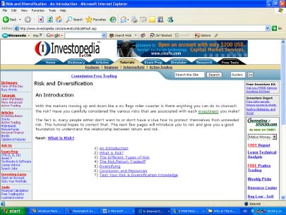 Another screenshot of Investopedia.com in January 2005.