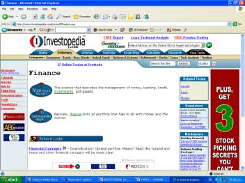 Screenshot of Investopedia.com in January 2005.
