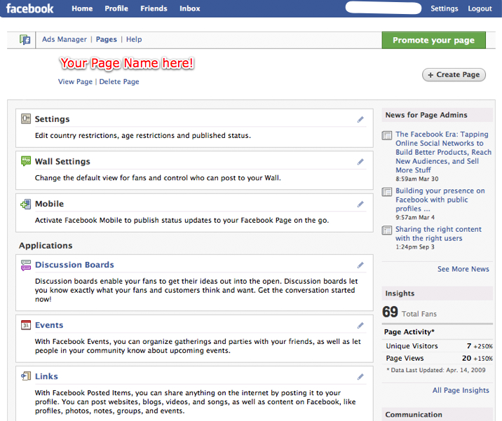 Screenshot of the editing view of a Facebook Page