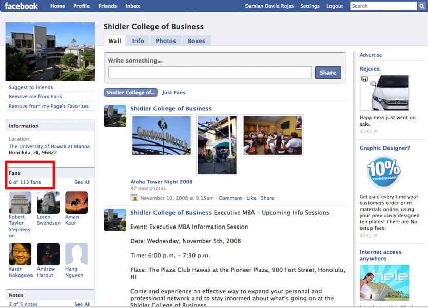 shidler-college-of-business-facebook-pages
